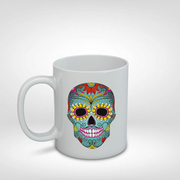 Sugar Skull Mug, Day of the Dead Mug, Sugar Skull, Colorful Mug, Gift Idea, Mug Gift, Fun Mug, Gifts, Girl Gift, Boy Gift, Friend, Boyfriend