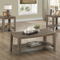 Dark Taupe Reclaimed-Look 3Pcs Table Set