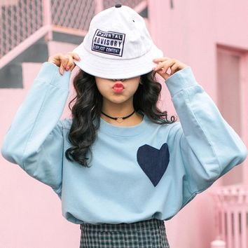 Ladies Velvet Sweatshirt Vintage Herat Clothes Women's Sweatshirts Japan Harajuku Female Korean Kawaii Cute Svitshot For Women