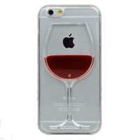 Red Wine Cup Liquid Transparent Case Cover For Apple iPhone 4 4S 5 5S 6 6 Plus All Models