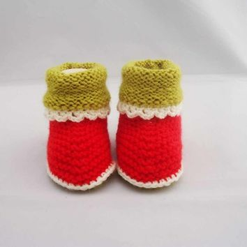 Baby Booties, Cute Baby Booties, Wool and Acrylic Baby Booties, 0-6 months,