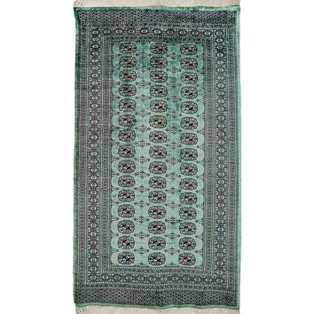 Oriental Pakistani Kashmiri Wool Rug, Green/Black