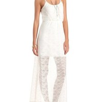 Geometric Crochet Maxi Dress by Charlotte Russe - Ivory