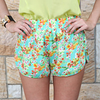 ISLAND BLOOMS SHORTS , DRESSES, TOPS, BOTTOMS, JACKETS & JUMPERS, ACCESSORIES, 50% OFF SALE, PRE ORDER, NEW ARRIVALS, PLAYSUIT, COLOUR, GIFT VOUCHER,,SHORTS,Green,Yellow,Print Australia, Queensland, Brisbane
