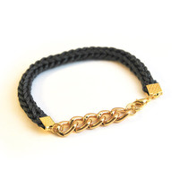 Chain bracelet, stackable bracelet with chunky chain, cord and chain bracelet in charcoal gray