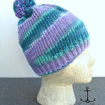 Knit Slouch Beanie, handmade, made to order, purple and teal hat