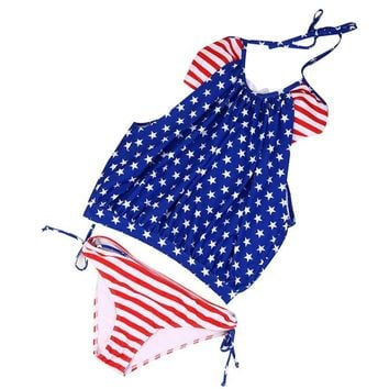 2017 Women Bikini Set Swimwear Push-Up Padded American Flag Bra Swimsuit Beachwear   Youthful Own Store