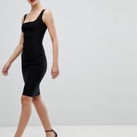 Vesper square neck pencil dress in black at asos.com