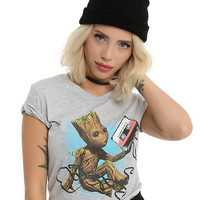 Marvel Guardians Of The Galaxy Vol. 2 Baby Groot Mix Tape Girls T-Shirt