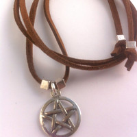 Pentagram suede necklace, wrap bracelet or anklet. Protection necklace, supernatural necklace,supernatural bracelet, protection amulet