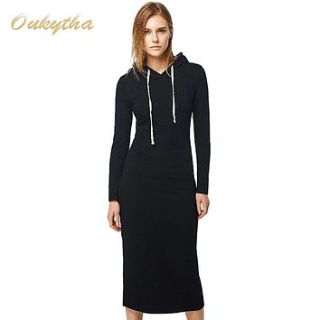 Oukytha New 2017 Autumn&Winter Women Floor-Length Dress Casual Hips Long Style Hooded Pockets Dress Lady Thickening Dress M15322