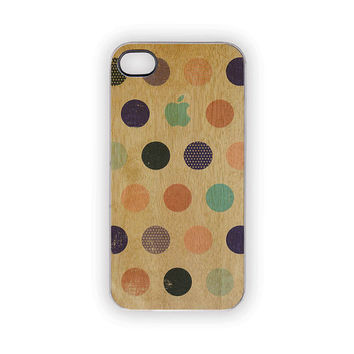 Woody Polka Dots iPhone Case 5 4S 4 Blue Apple Shabby Chic Green Pink Brown Wood Grain Circles Spots Vintage Retro Feel Earth Day