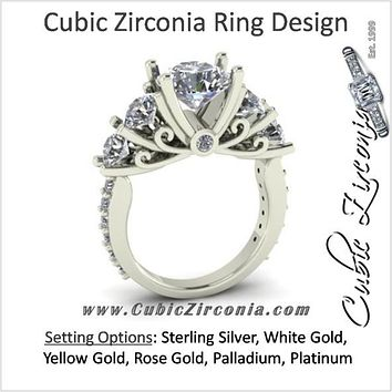 Cubic Zirconia Engagement Ring- The Arwen (5 Stone Woven Prong with band accents)