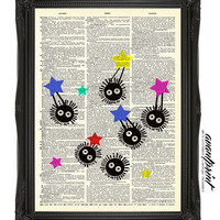 Sweet Soot Sprites with Stars Original Studio Ghibli Print on an Unframed Upcycled Bookpage