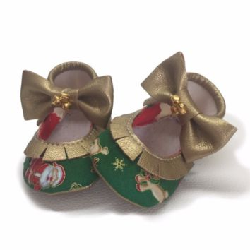 Christmas Green Mary Janes with jingle bells