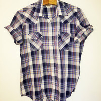 Vintage Mens Short Sleeve Western Plaid Snap Button Shirt