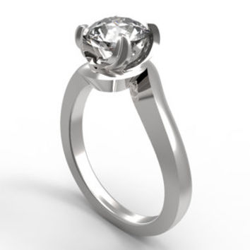 Sharper Twisted  Engagement Solitaire Ring 3D CAD Mold Design - C10