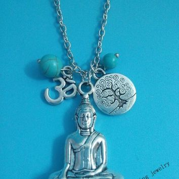 Buddha Ohm Tree Charm Necklace
