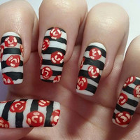 Black and white striped fake nails - Hand painted red rose acrylic nail art design - Long square rockabilly nail art