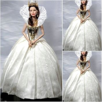 History!Customer-made White Vintage Costumes Renaissance Dress Steampunk dress Gothic Cosplay Halloween Dresses C-1063