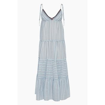 Nefasi Empire Maxi Dress - Sky Blue Stripe Print