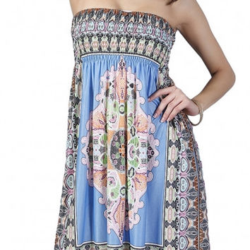 Symmetric Geo-Tribal Print Strapless Elastic Chest Dress