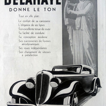 DELAHAYE automobiles, superlux French car, original vintage advertisement from L'Illustration, 1934, car poster, vintage advertising
