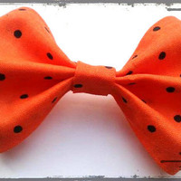 Rockabilly Small Hair Bow- Halloween Polka Dots