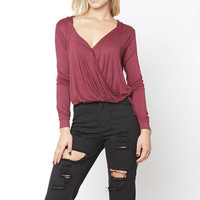 Crossover Longsleeve Hodded Top - Burgundy