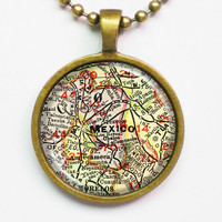 Vintage Map Necklace - Mexico City, Mexico -Vintage Map Series
