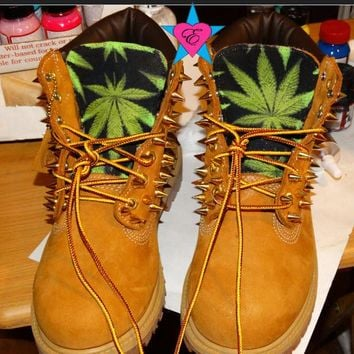 PreSchool Kids- Custom Spiked Toddler Timberland Green Cannabis Marijuana Weed Print Kid Boots