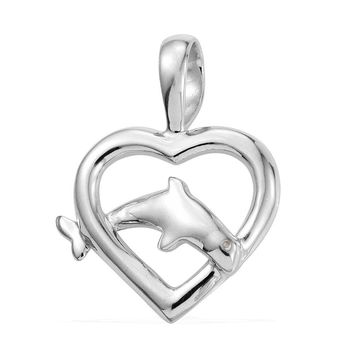 Dolphin Heart Pendant with Chain