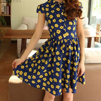 Vintage Blue Peter Pan Collar Short Sleeve Chiffon Dress