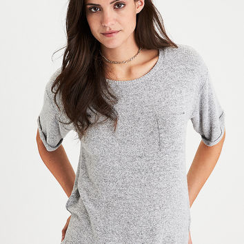 AEO Soft & Sexy Plush Rolled-Sleeve Tee, Light Gray