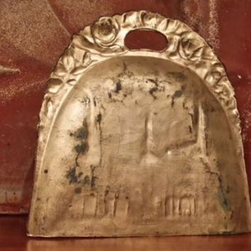 Vintage Brass New York City Souvenir Dust Pan Crumb Tray Featuring Brooklyn Bridge Statue of Liberty Flat Iron Metropolitan Great Guy Gift