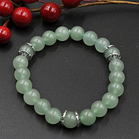 Natural Green Aventurine Handmade Bracelet with Silver Plated Spacers