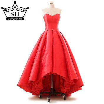 Before The Short After The Long Evening Dress Big Red Color Twill Satin Strapless Pary Dress 2017 Real Picture Srerne Hill