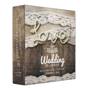 Rustic Country Wood Love Rope Lace Wedding Planner 3 Ring Binder