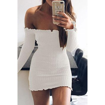Off Shoulder Candy Color Long Sleeves Short Dress