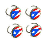 Flag of Puerto Rico Napkin Ring Set