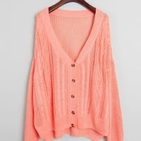 Hollow Out V Neck Pink Sweater$46.00
