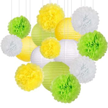 GREEN LIME Yellow White Party Tissue Poms & Lantern Delux Set-DIY Birthday Party Set, Paper Lantern, Green Baby Shower, Green Bridal Shower