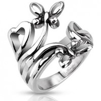 Stainless Steel Extruding Nature of Butterflies and Hearts Ring - Size 8