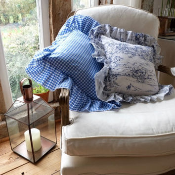 Ruffled Throw Pillow. Decorative Pillow, Cushion Cover. Gingham, Ticking and Toile!