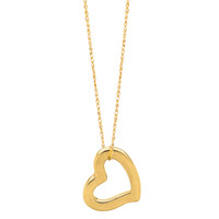 14K Yellow Gold Heart Shaped Tube Pendant On 18 Inch Necklace