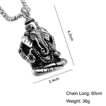 Lord Ganesha Hindu God Necklace Stainless Steel