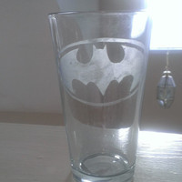 Superman and Batman Etched Glasses Set