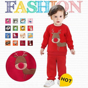 Autumn Winter Boys Girls Children Sweats Clothes Set Kids Fleece Clothing set