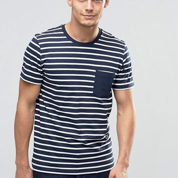 Jack & Jones Core Striped T-Shirt with Contrast Pocket at asos.com