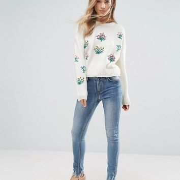 New Look Floral Embroidered Knitted Crop Sweater at asos.com